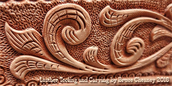 Leather tooling and carving by Bruce Cheaney